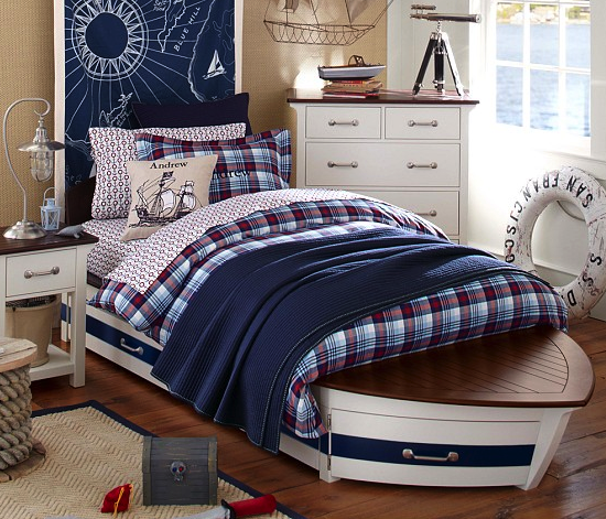 Pottery Barn Kids speedboat (with trundle) bed