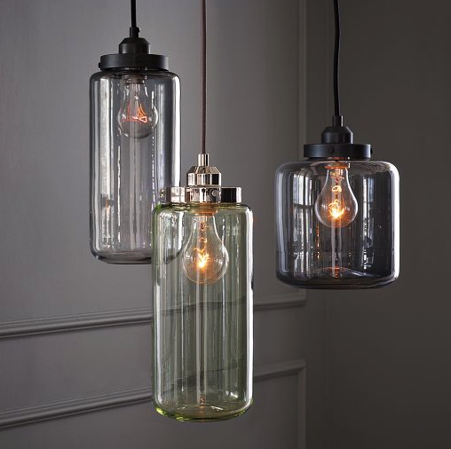 West Elm glass jar pendant lights
