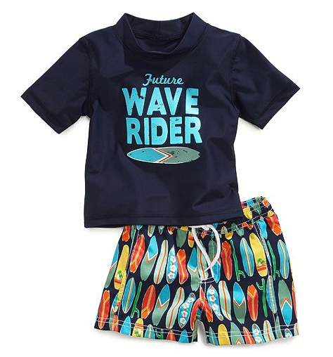 Carter's rash guard and shorts