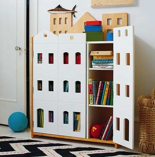Land of Nod storage brownstone bookcase