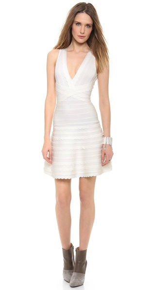 Herve Leger little white dress