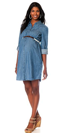 Motherhood Maternity chambray shirt dress - stylish pregnancy clothes