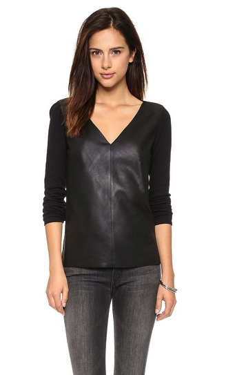 BB Dakota leather front sweater