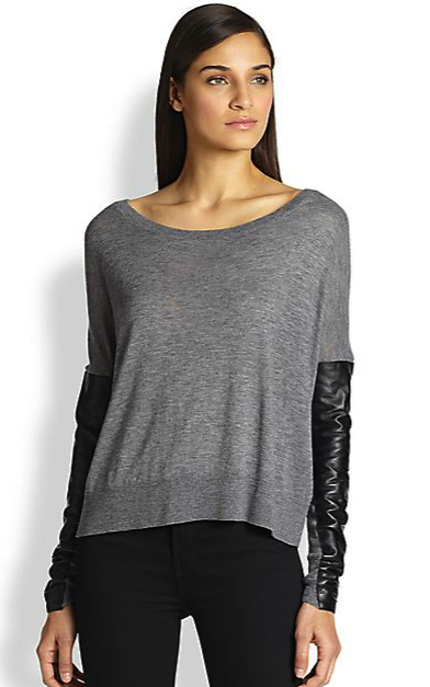 Milly leather-sleeved sweater