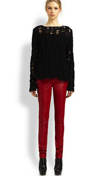 Saint Laurent leather jeans