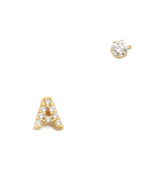 Tai alphabet earring with stud - personal jewelry