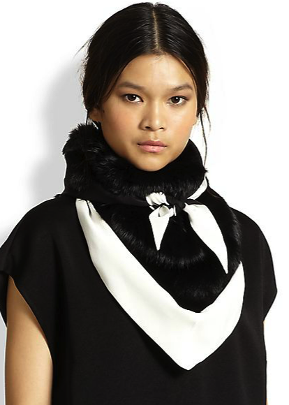 3.1 Phillip Lim rabbit fur and silk scarf