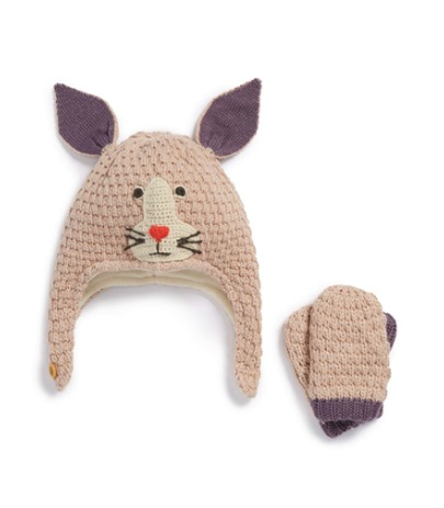 Mini Boden hat and mittens set