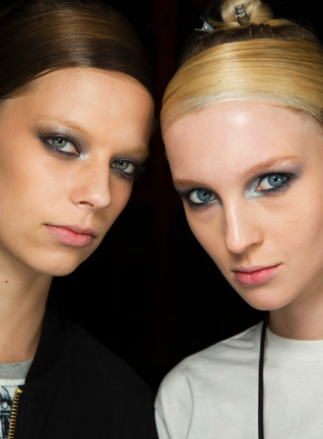 Metallic eyes at Donna Karan's Fall 2014 show (from style.com photo by: Sonny Vandervelde)