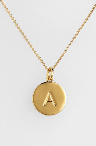 Kate Spade engraved one in a million/initial necklace