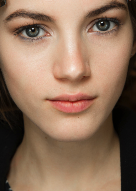 Peach lips at the Valentino f/w '14 show (photo by: Sonny Vandevelde for style.com)