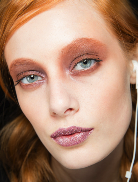 Metallic lips at the Rodarte f/w '14 show (photo by: Sonny Vandevelde for style.com)