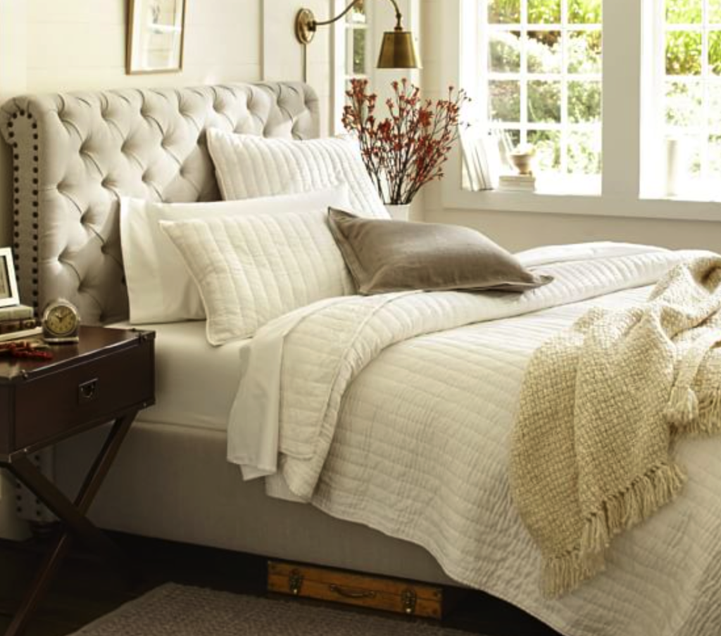 Chesterfield bed and headboard